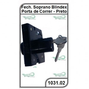Fechadura Soprano Blindex Porta de Correr Preto - 1031.02